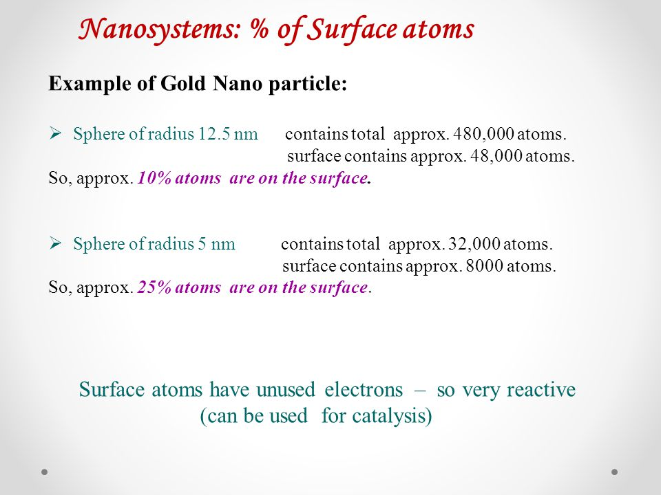 Nanosystems: % of Surface atoms