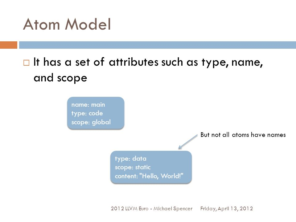 Atom Model It has a set of attributes such as type, name, and scope