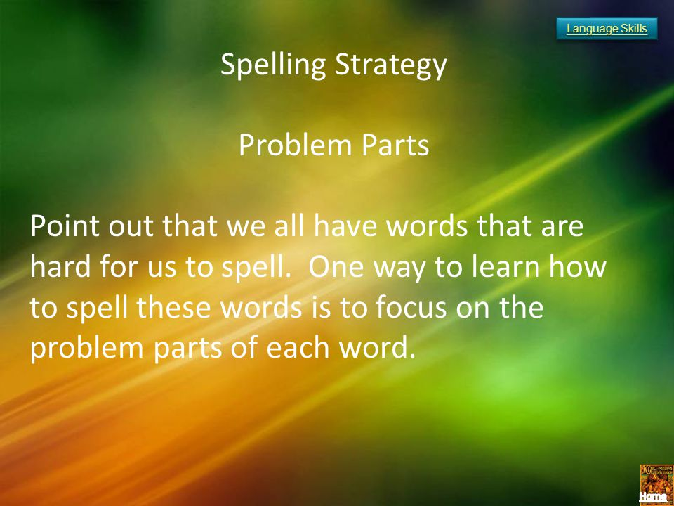Spelling Strategy Problem Parts