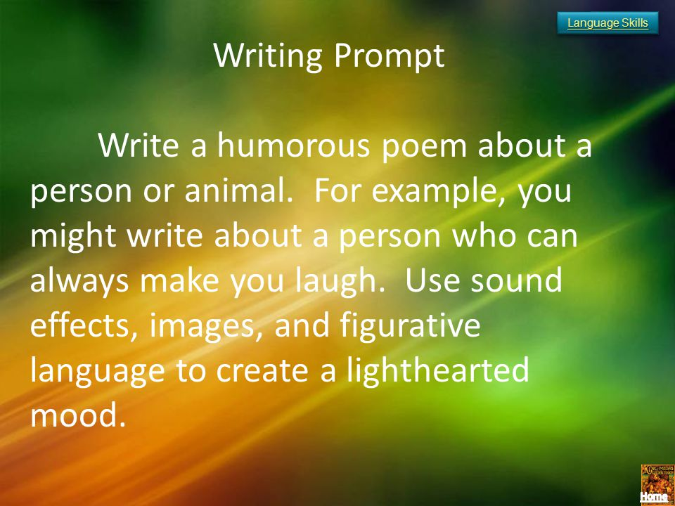Language Skills Writing Prompt.