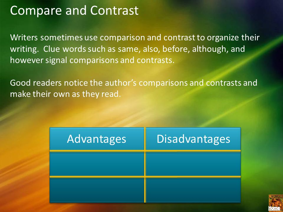 Compare and Contrast Advantages Disadvantages