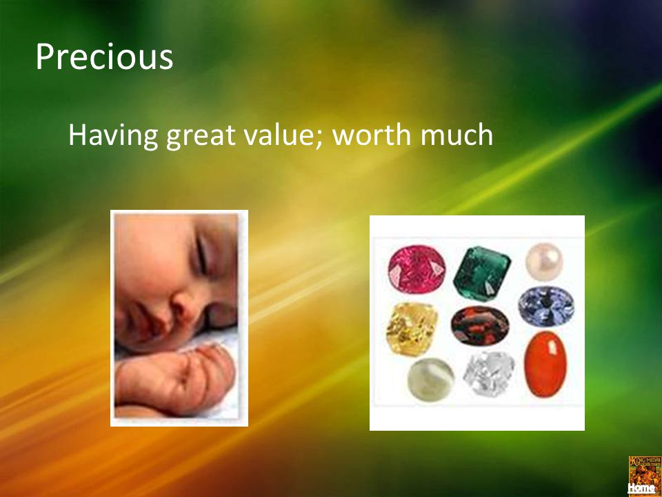 Precious Having great value; worth much
