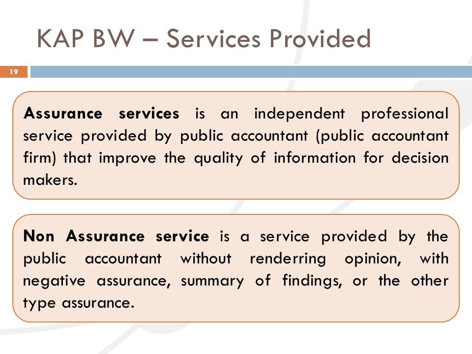 KAP BW – Services Provided