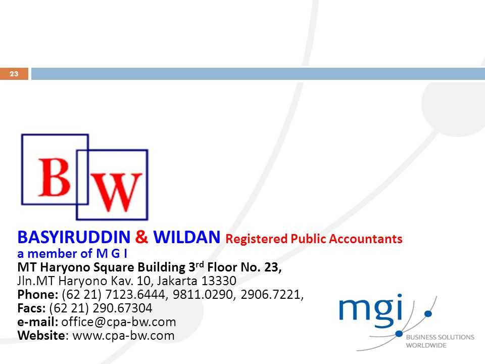 BASYIRUDDIN & WILDAN Registered Public Accountants