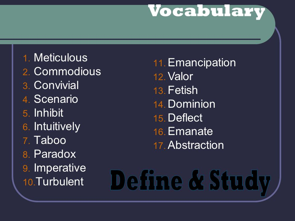 Vocabulary Define & Study Meticulous Commodious Emancipation Valor