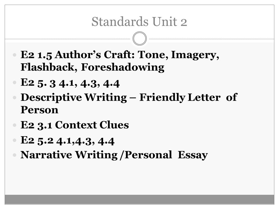 Standards Unit 2 E2 1.5 Author's Craft: Tone, Imagery, Flashback, Foreshadowing. E2 5. 3 4.1, 4.3, 4.4.