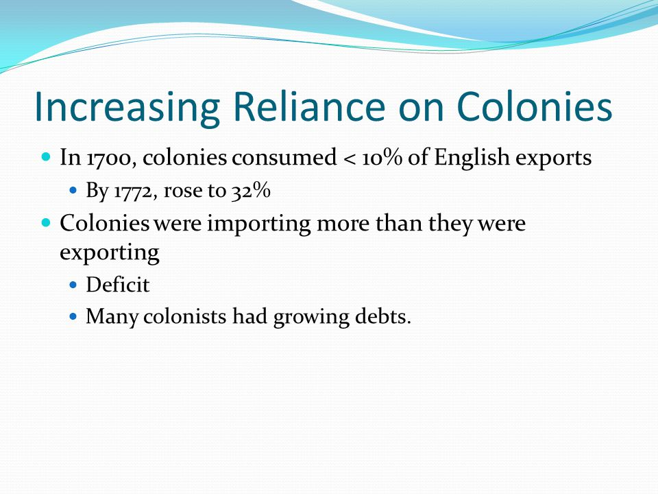 Increasing Reliance on Colonies