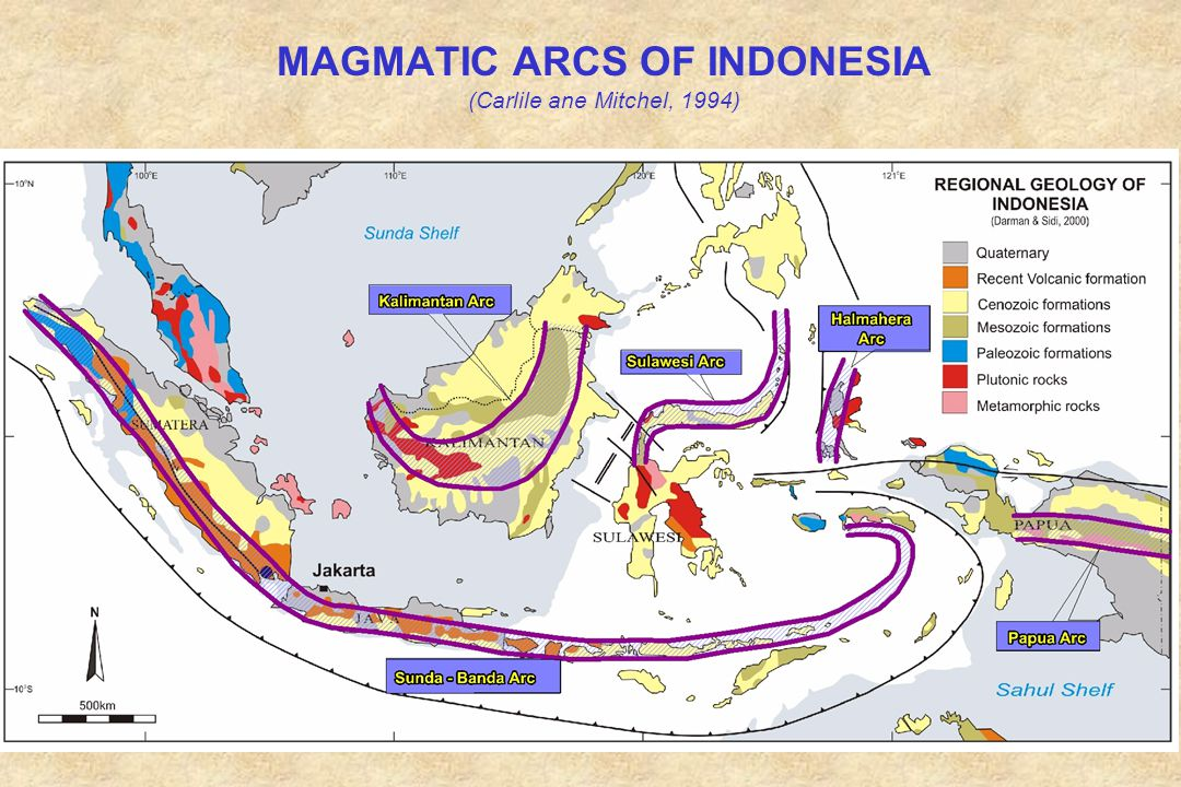 MAGMATIC ARCS OF INDONESIA (Carlile ane Mitchel, 1994)