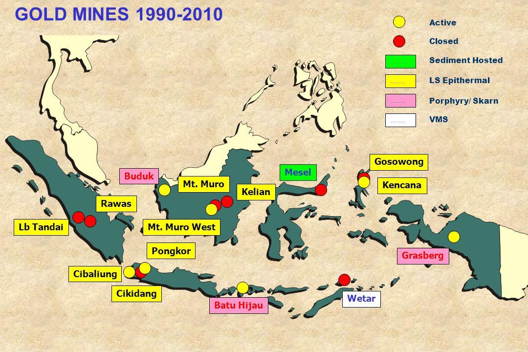 GOLD MINES 1990-2010 Gosowong Mesel Buduk Mt. Muro Kencana Kelian