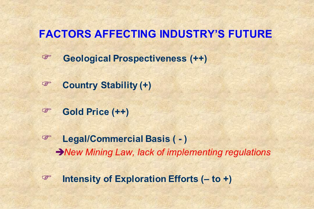 FACTORS AFFECTING INDUSTRY'S FUTURE