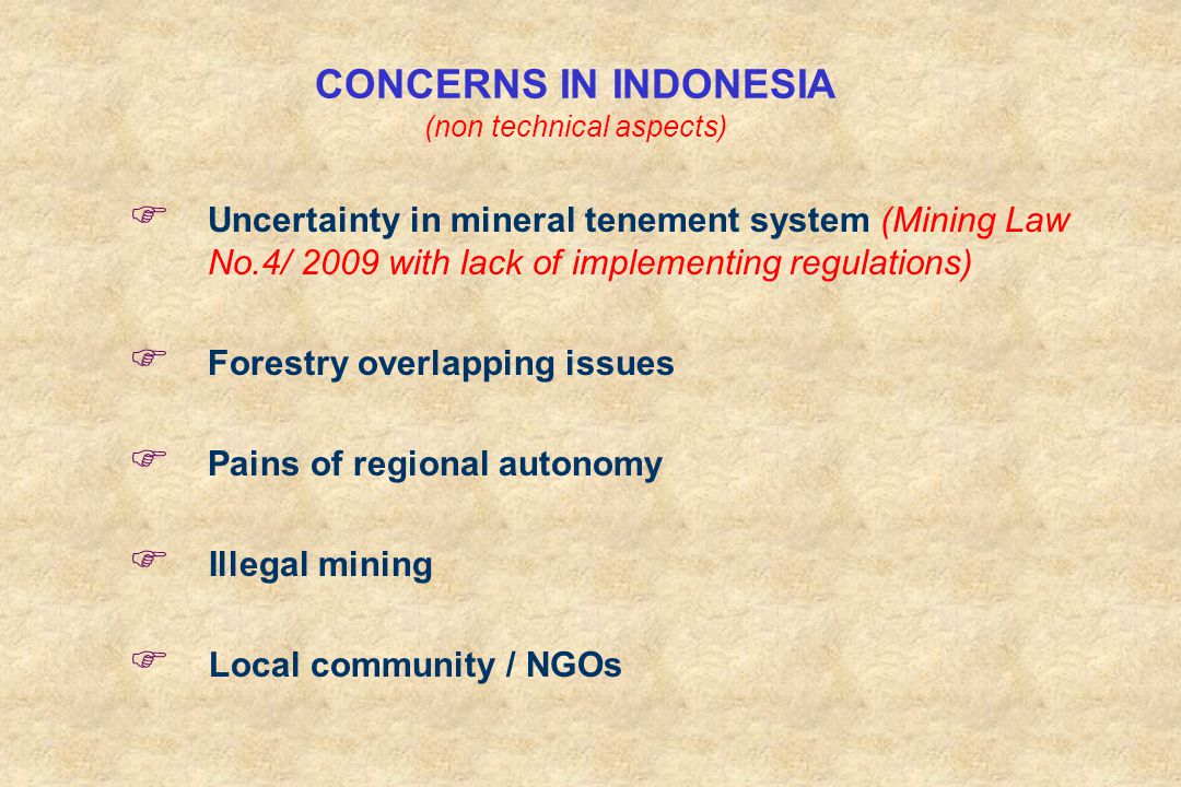CONCERNS IN INDONESIA (non technical aspects)