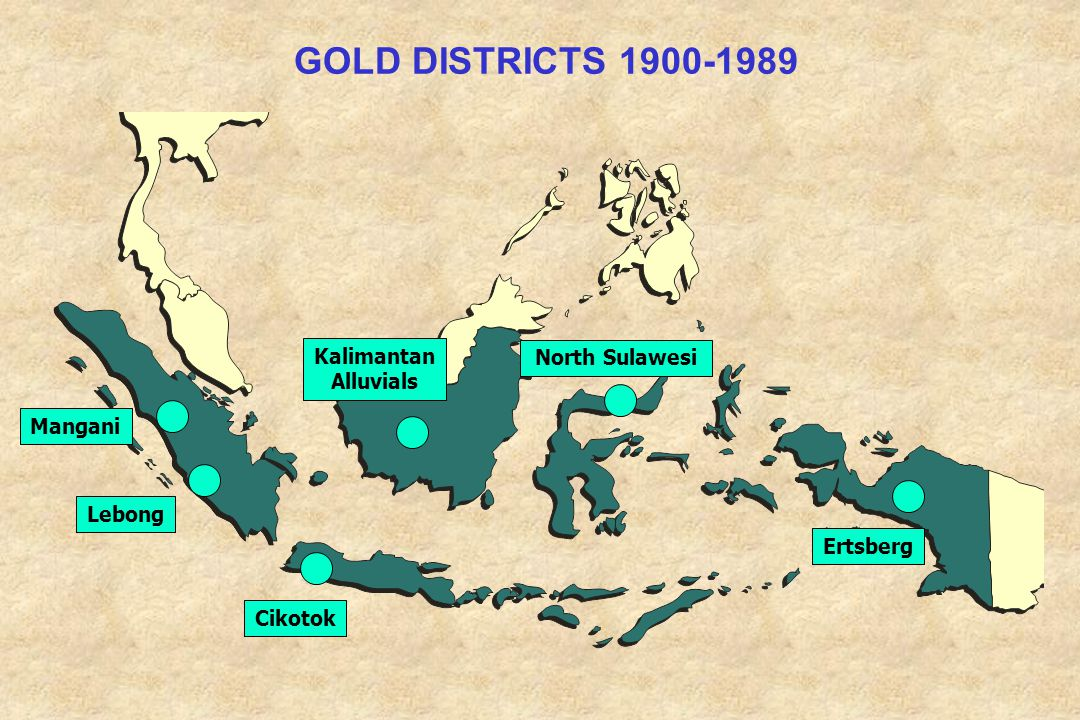 GOLD DISTRICTS 1900-1989 Kalimantan North Sulawesi Alluvials Mangani