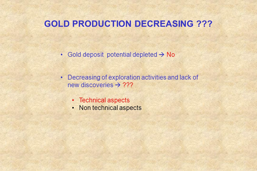 GOLD PRODUCTION DECREASING