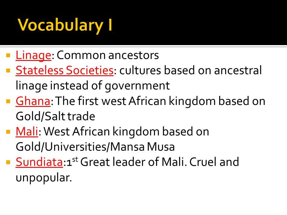 Vocabulary I Linage: Common ancestors