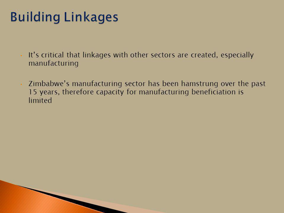Building Linkages It's critical that linkages with other sectors are created, especially manufacturing.