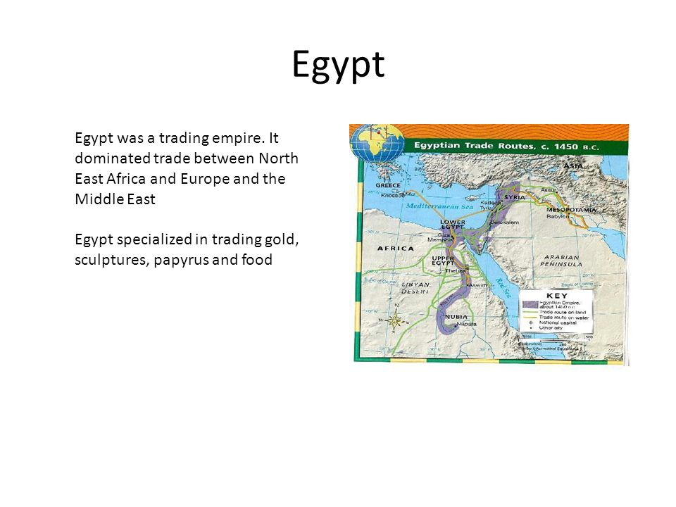 Egypt Egypt was a trading empire. It dominated trade between North East Africa and Europe and the Middle East.