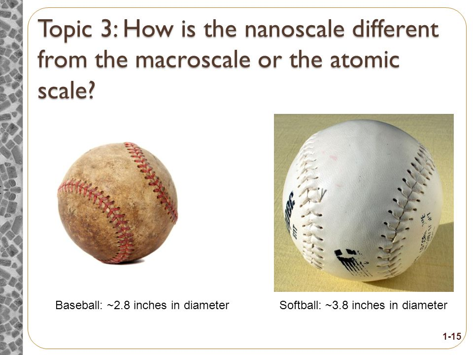 Topic 3 How is the nanoscale different from the macroscale or the atomic scale