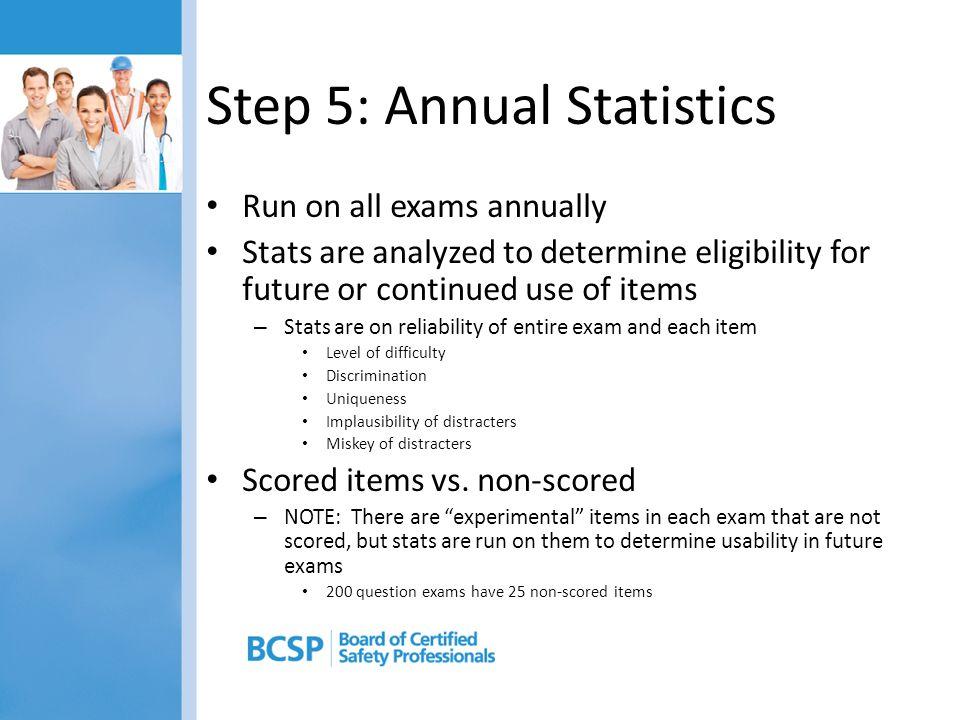 Step 5: Annual Statistics