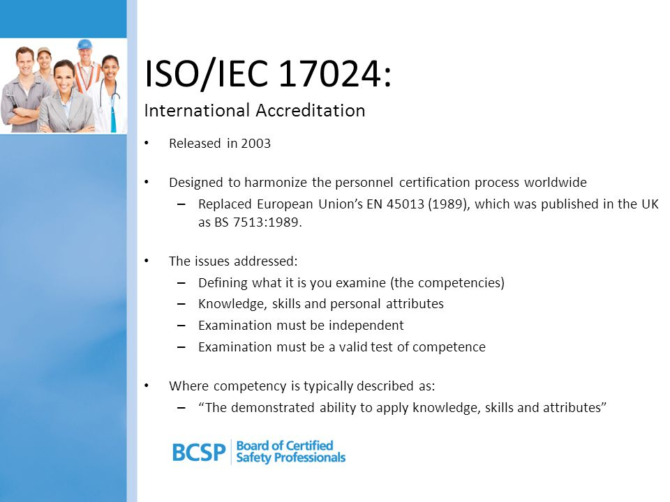 ISO/IEC 17024: International Accreditation