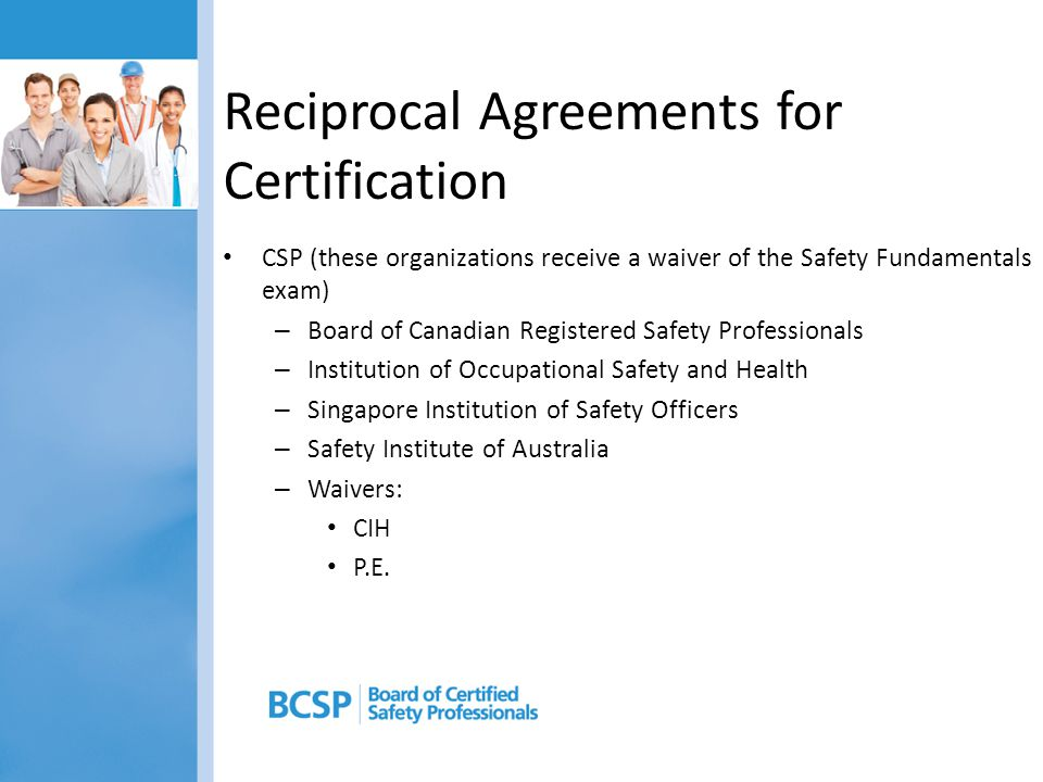 Reciprocal Agreements for Certification