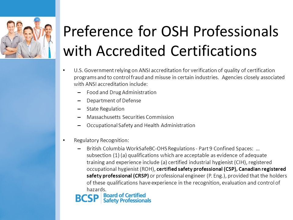 Preference for OSH Professionals with Accredited Certifications