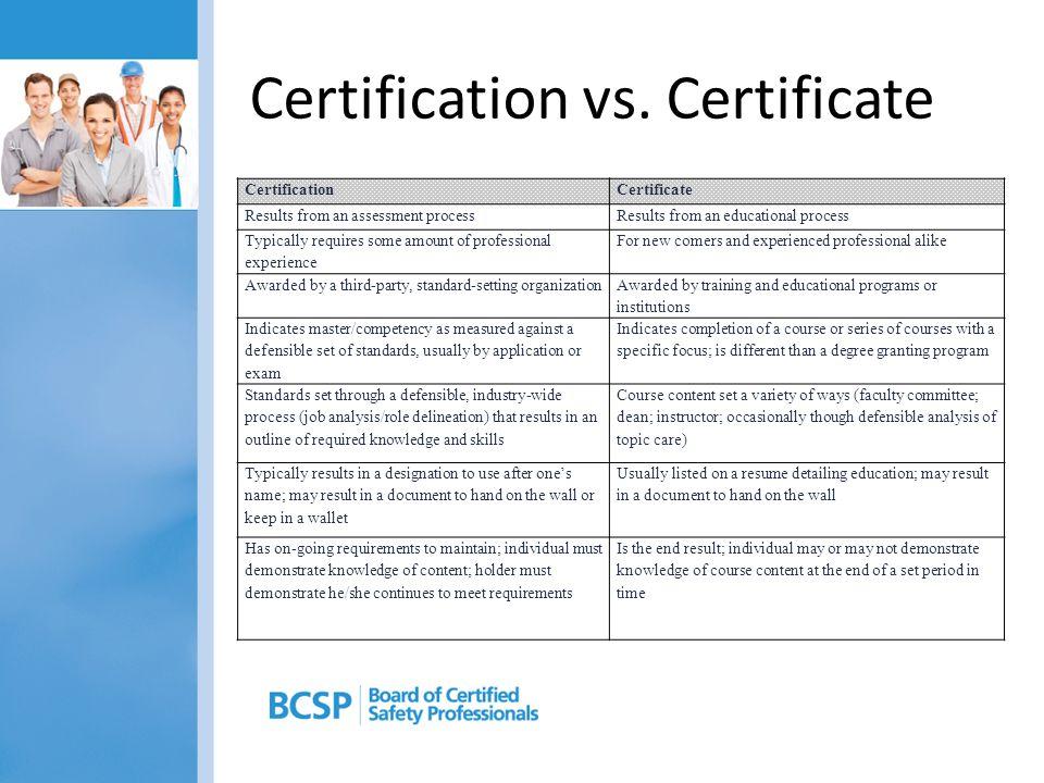 Certification vs. Certificate