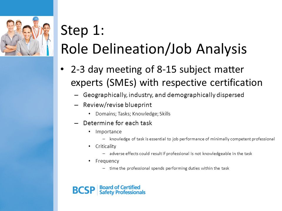 Step 1: Role Delineation/Job Analysis