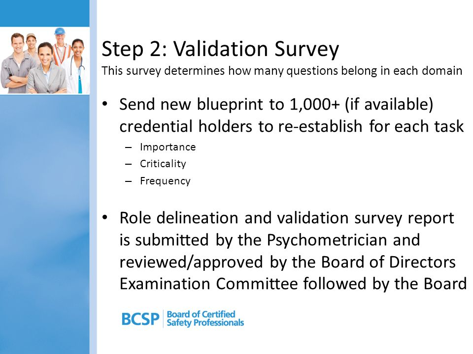 Step 2: Validation Survey This survey determines how many questions belong in each domain