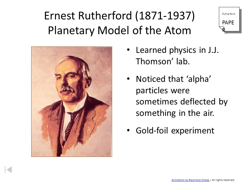 Ernest Rutherford ( ) Planetary Model of the Atom