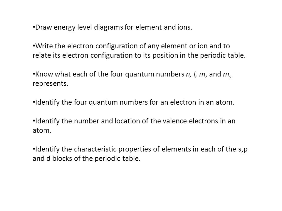 Draw energy level diagrams for element and ions.