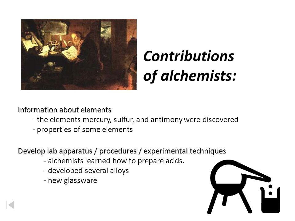Contributions of alchemists: Information about elements
