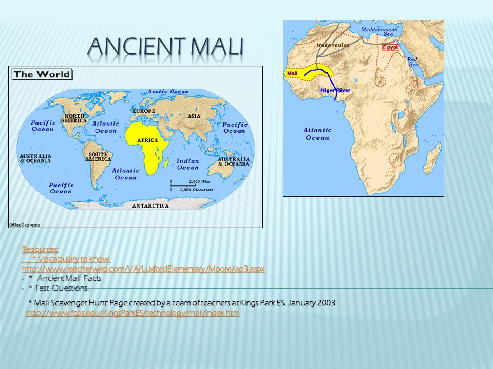 Ancient Mali Resources: * Vocabulary to know: