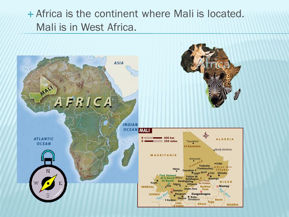 Africa is the continent where Mali is located. Mali is in West Africa.