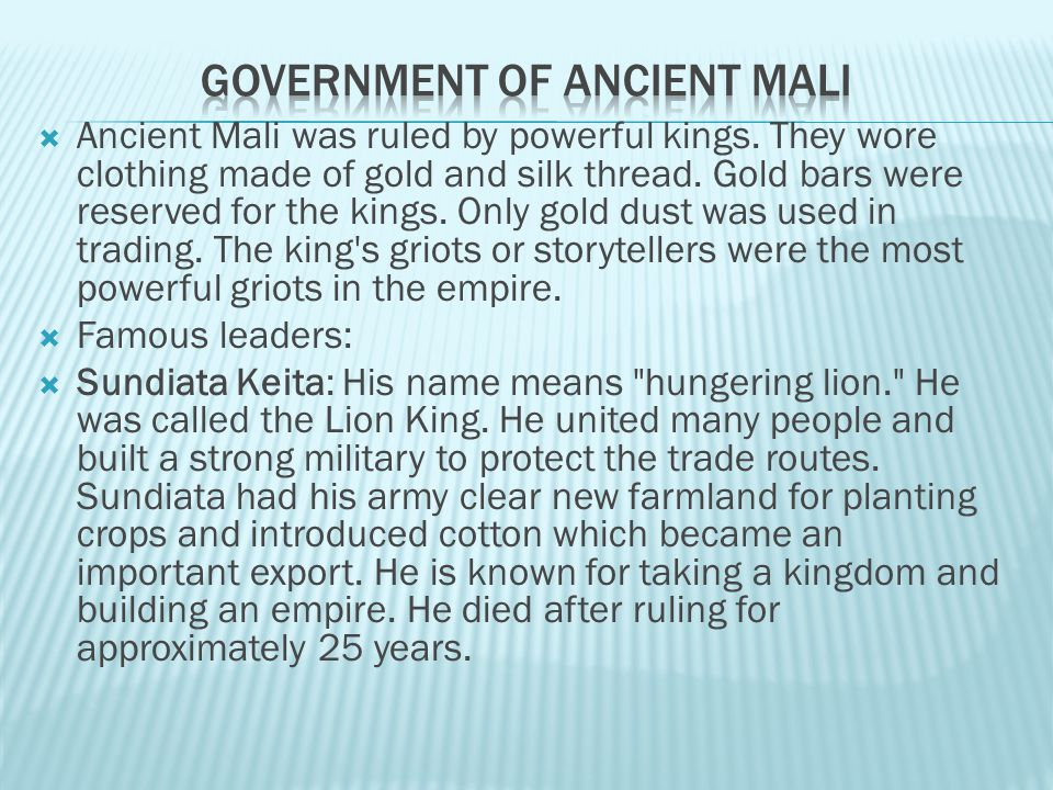 Government of Ancient Mali