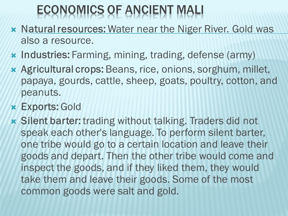 Economics of Ancient Mali