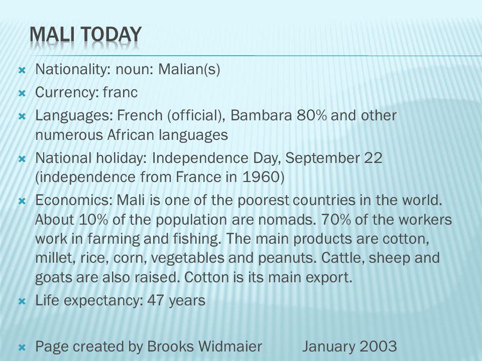 Mali Today Nationality: noun: Malian(s) Currency: franc