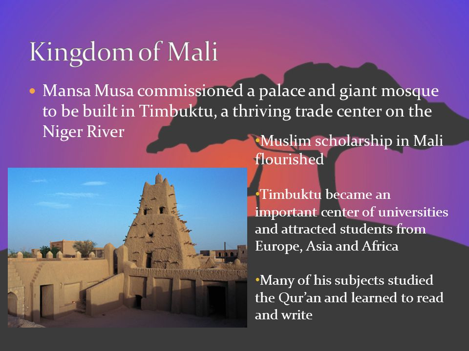 Kingdom of Mali Mansa Musa commissioned a palace and giant mosque to be built in Timbuktu, a thriving trade center on the Niger River.