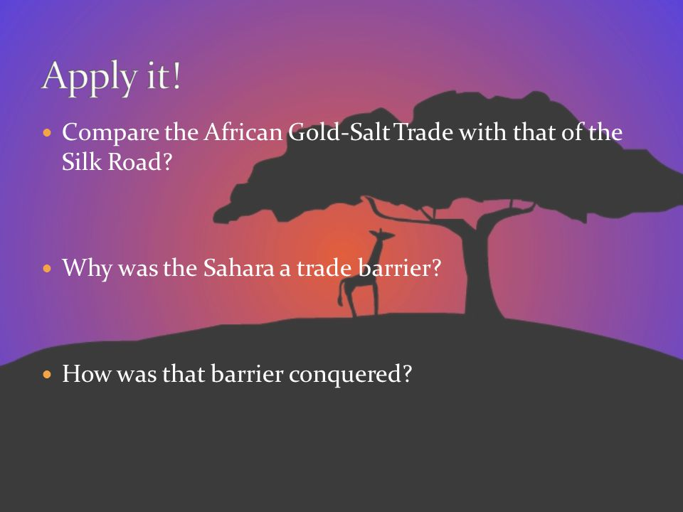 Apply it! Compare the African Gold-Salt Trade with that of the Silk Road Why was the Sahara a trade barrier