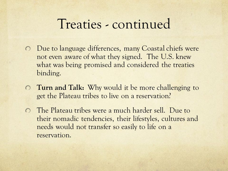 Treaties - continued