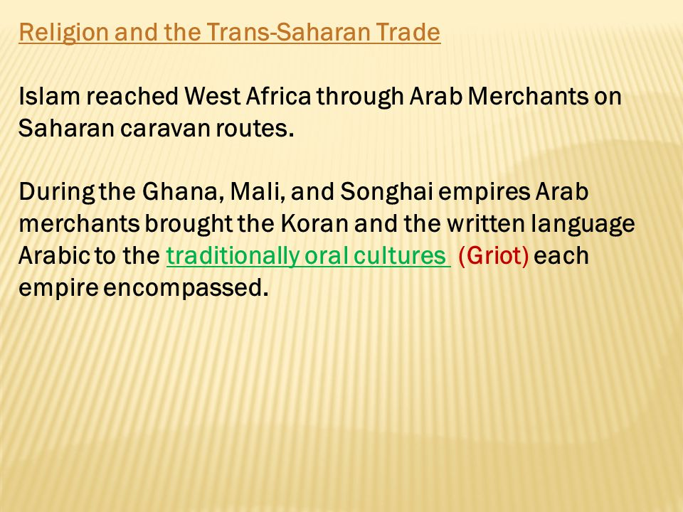 Religion and the Trans-Saharan Trade