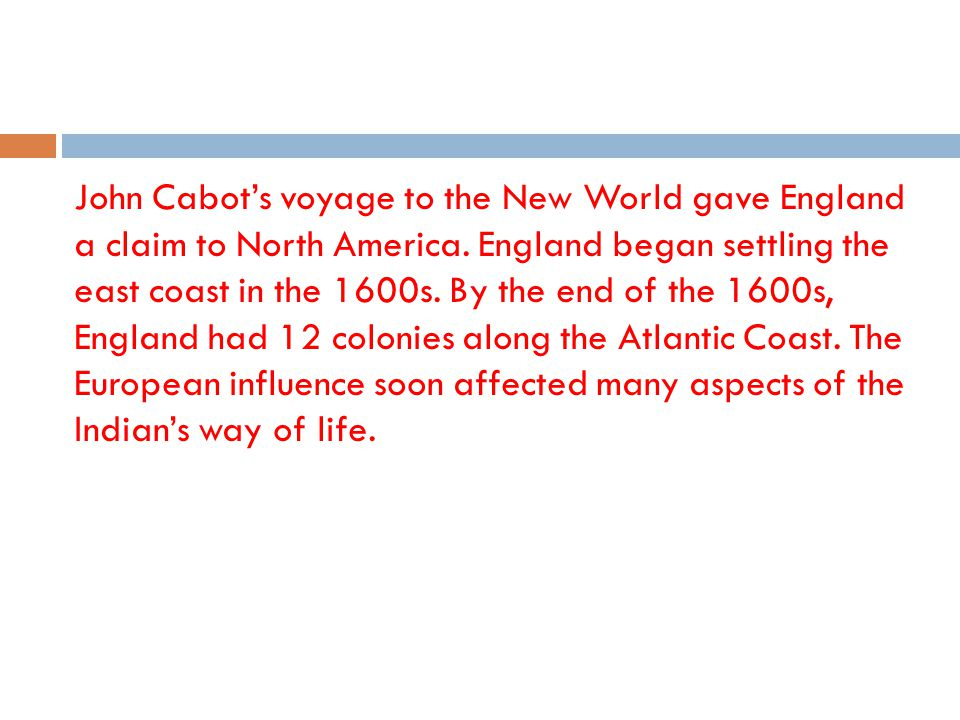 John Cabot's voyage to the New World gave England a claim to North America.