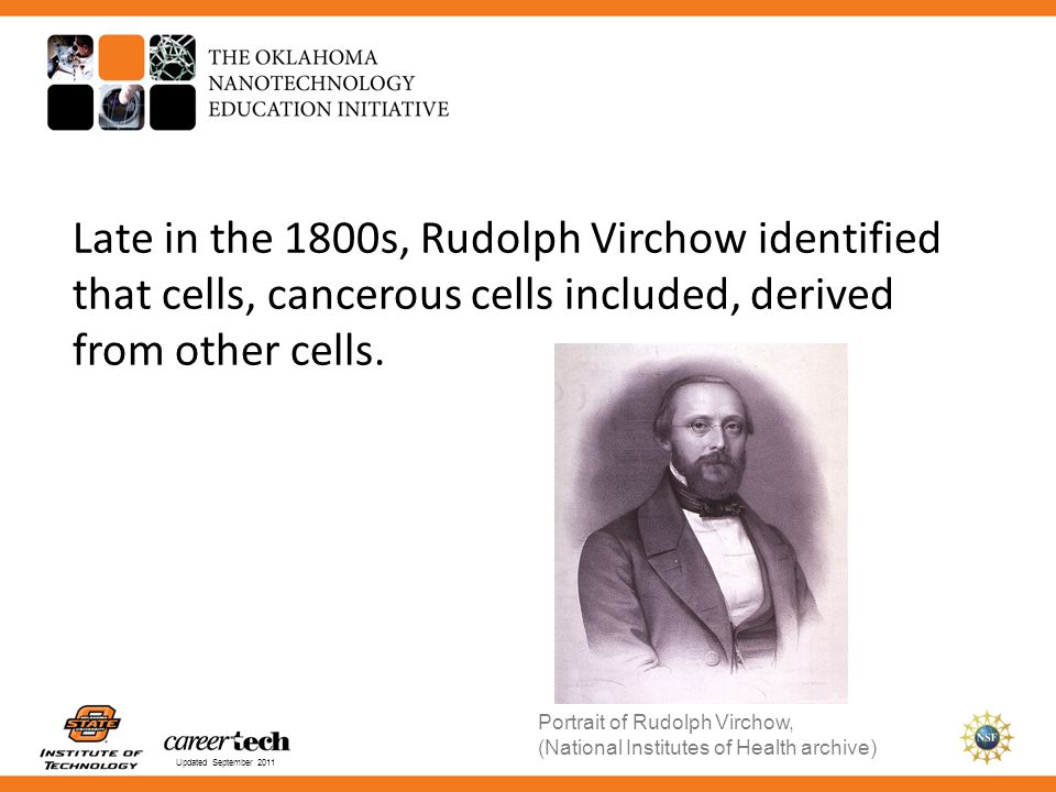 Late in the 1800s, Rudolph Virchow identified that cells, cancerous cells included, derived from other cells.