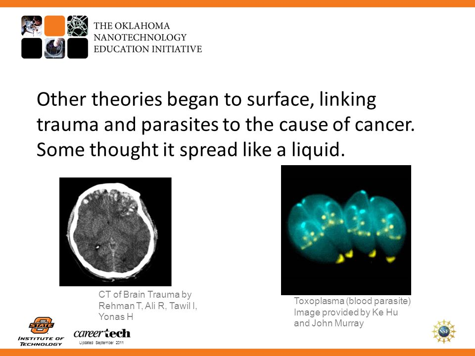 Other theories began to surface, linking trauma and parasites to the cause of cancer. Some thought it spread like a liquid.