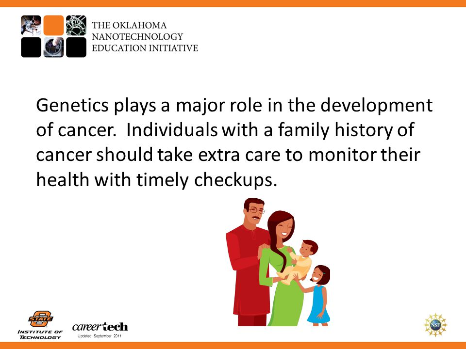 Genetics plays a major role in the development of cancer