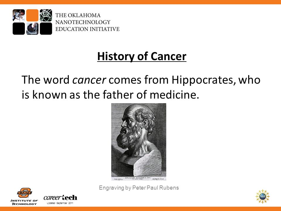 History of Cancer The word cancer comes from Hippocrates, who is known as the father of medicine. Engraving by Peter Paul Rubens.