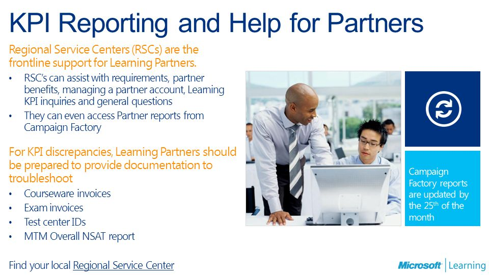 KPI Reporting and Help for Partners