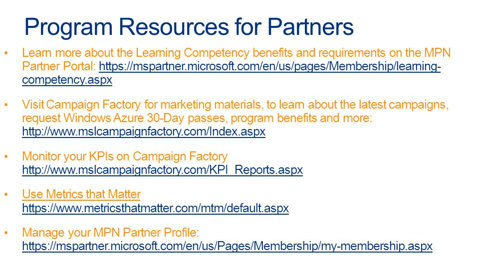 Program Resources for Partners