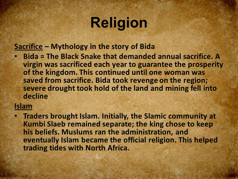 Religion Sacrifice – Mythology in the story of Bida
