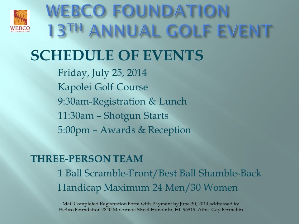 WEBCO FOUNDATION 13TH ANNUAL GOLF EVENT