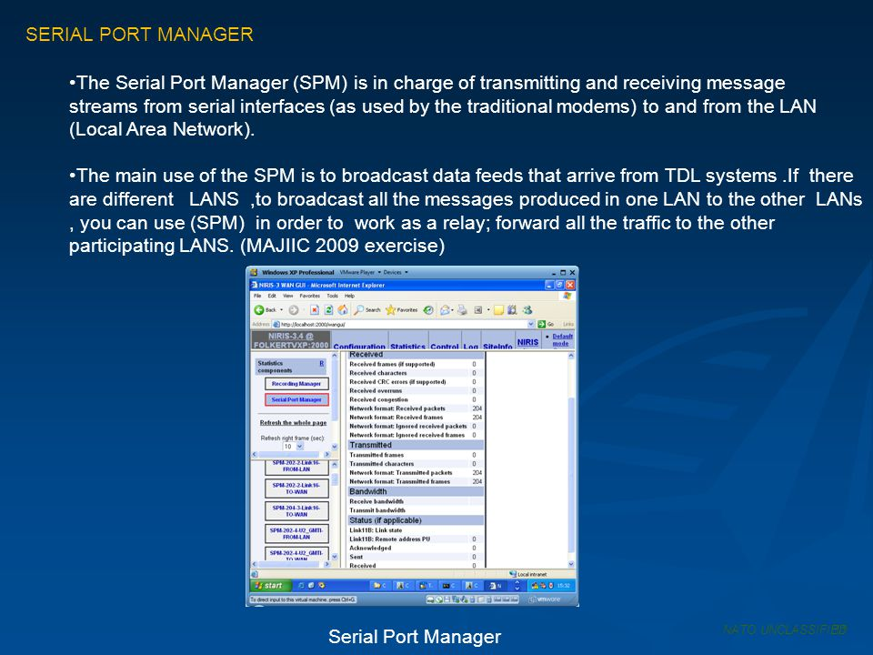 SERIAL PORT MANAGER The Serial Port Manager (SPM) is in charge of transmitting and receiving message.
